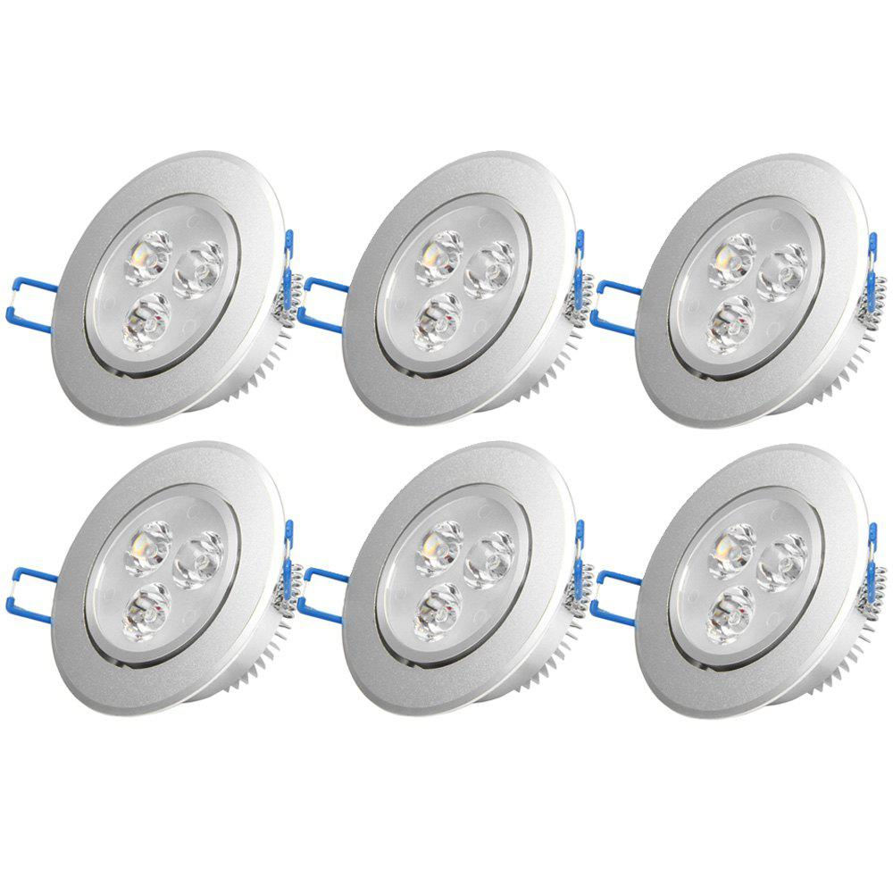 YouOKLight YK4456 3W High-Power LED Down Light White Light 6 PCS - SILVER