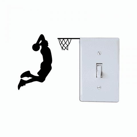 Basketball Player Dunk Silhouette Light Switch Sticker Cartoon Sport Vinyl Decal - BLACK 11X12CM