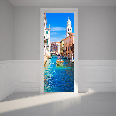 3D Water Construction Building Decals Venice Canal Removable Door Sticker - multicolor 77X200CM