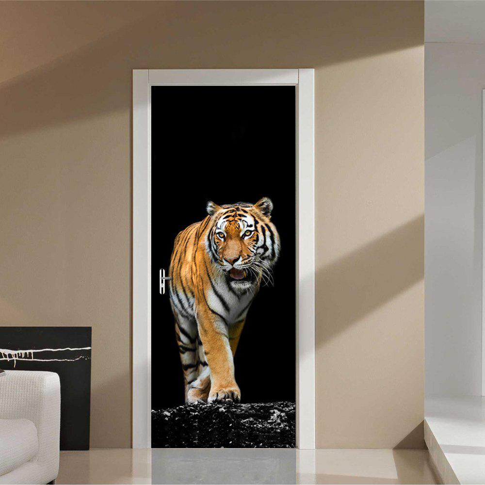 3D Ferocious Tiger Door Stickers DIY PVC Mural Home Decor Poster silvercell women sexy off shoulder club dress fashion knitted elastic sweater slim bodycon dress vestidos
