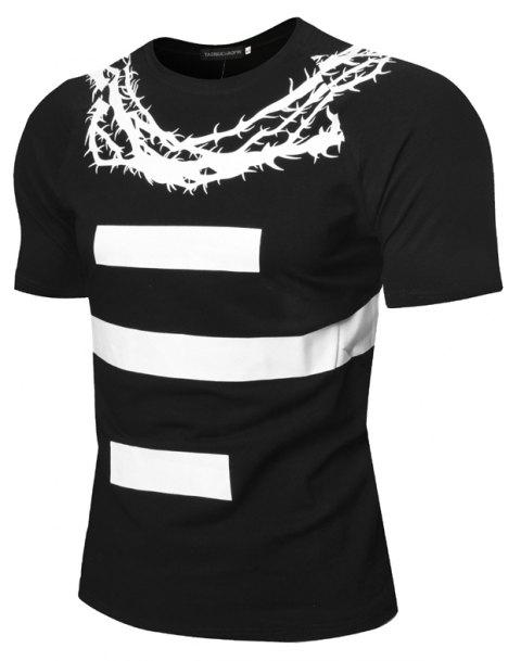 Summer Fashion Personality Stamp Collar Men Short Sleeve T-Shirt - BLACK L