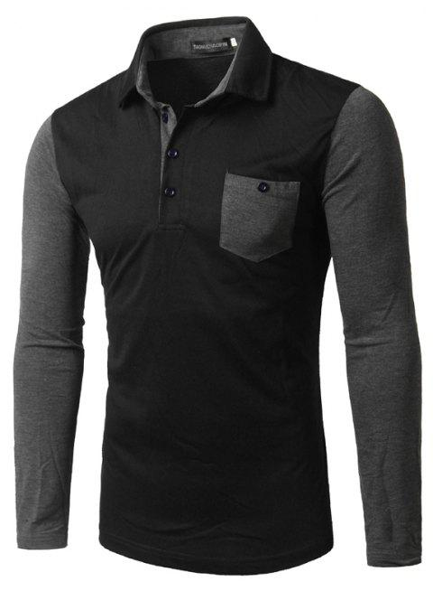Fashion Business Man Long Sleeve  Shirt - BLACK L