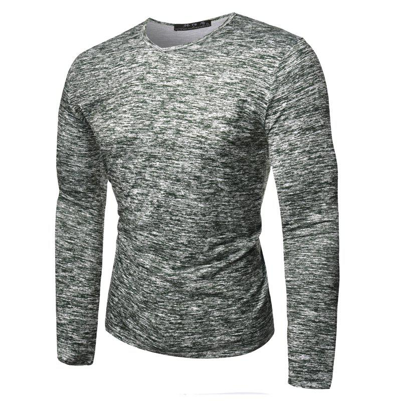 Fashion Spring New Snowflake Round Collar Men Long Sleeve T-Shirts - GREEN XL