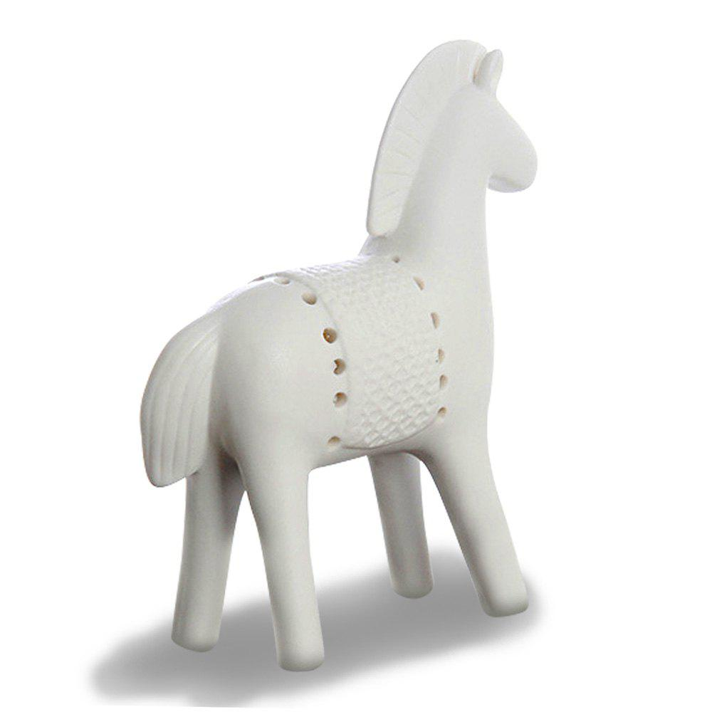 WXCH-031313 Ceramic Simple Home Furnishing Decoration Frosted War Horse - WHITE