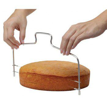Stainless Steel Baking Adjustable 2 Wire Layer Cake Cutter Leveler Slicer - SILVER