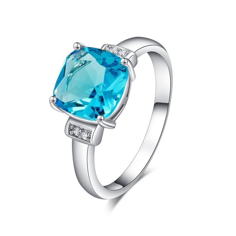 Fashion Simple Square Zircon Ring J1799 - BLUE ZIRCON US SIZE 7