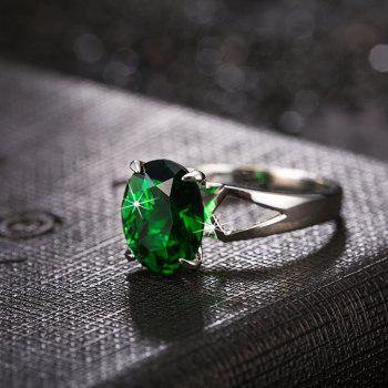 Fashion Micro-set Elliptic Large Zircon Ring J1806 - CLOVER GREEN US SIZE 6