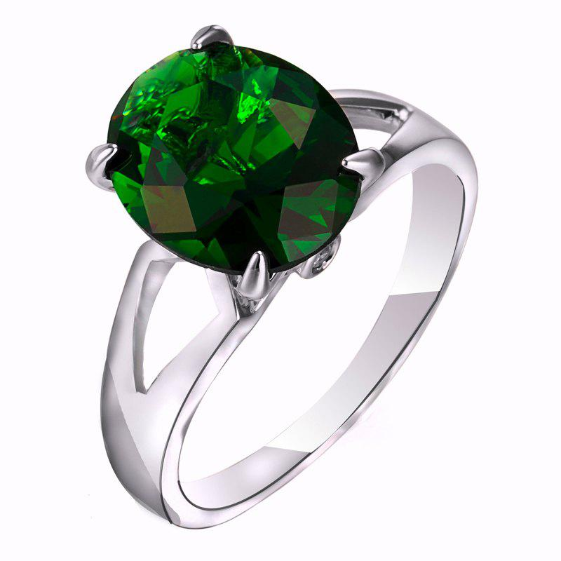 Fashion Micro-set Elliptic Large Zircon Ring J1806 - CLOVER GREEN US SIZE 8