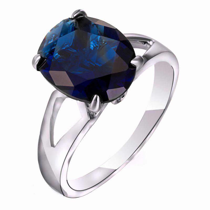 Fashion Micro-set Elliptic Large Zircon Ring J1806 - SAPPHIRE BLUE US SIZE 6