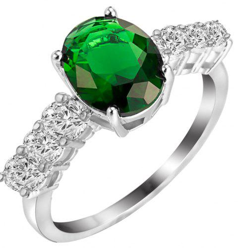 Fashion Micro-inlaid  Zircon Ring J1809 - MEDIUM SPRING GREEN US SIZE 9