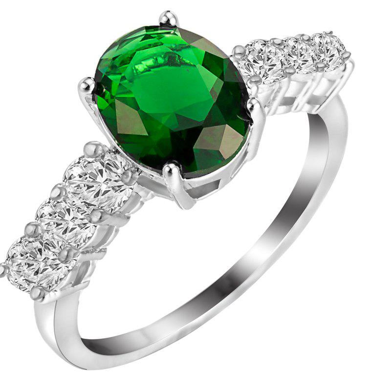 Fashion Micro-inlaid  Zircon Ring J1809 - MEDIUM SPRING GREEN US SIZE 8