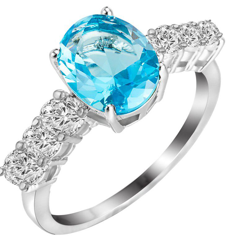Fashion Micro-inlaid  Zircon Ring J1809 - SEA BLUE US SIZE 9