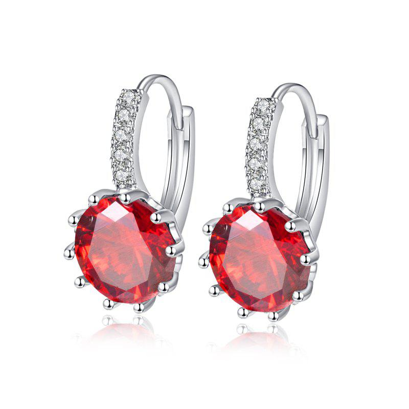Gracefully Inlaid Large Zircon Earrings - RUBY RED