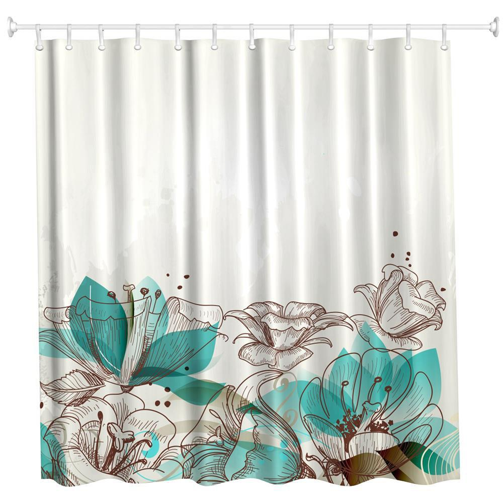 Cartoon Flowers Water-Proof Polyester 3D Printing Bathroom Shower Curtain - multicolor A W71 INCH * L71 INCH