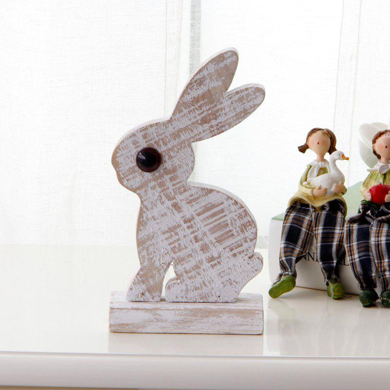 Creative Wooden Art Cute Rabbit European Style Vintage Home Display - WHITE