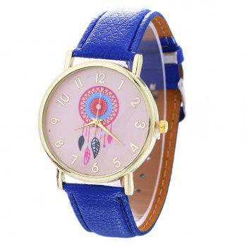 Dream Catcher Feather Leaf  Pattern Strap Watch - DEEP BLUE