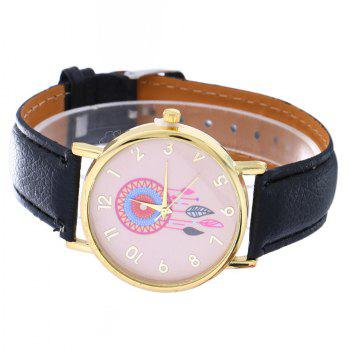 Dream Catcher Feather Leaf  Pattern Strap Watch - BLACK