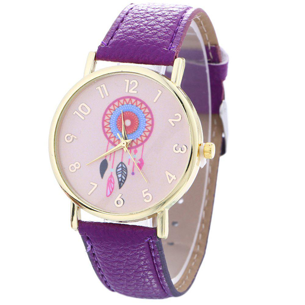 Dream Catcher Feather Leaf  Pattern Strap Watch - VIOLET