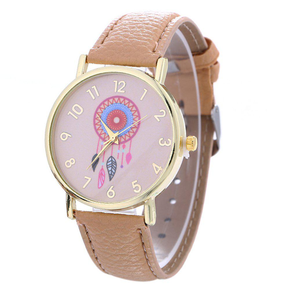 Dream Catcher Feather Leaf  Pattern Strap Watch - BEIGE