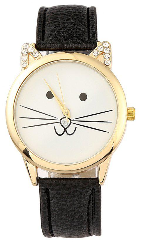 Cartoon Cat Artificial  Diamond  Watch - BLACK
