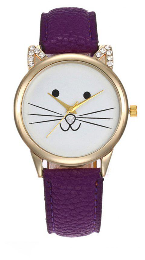 Cartoon Cat Artificial  Diamond  Watch - VIOLET