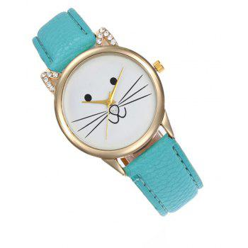 Cartoon Cat Artificial  Diamond  Watch - MINT GREEN