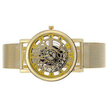 Hollow Carved Flower Net With Quartz Watch - YELLOW