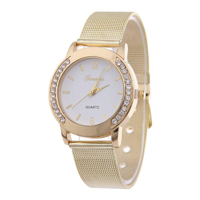 Stylish Minimalist Artificial Diamond Mesh Watch - YELLOW