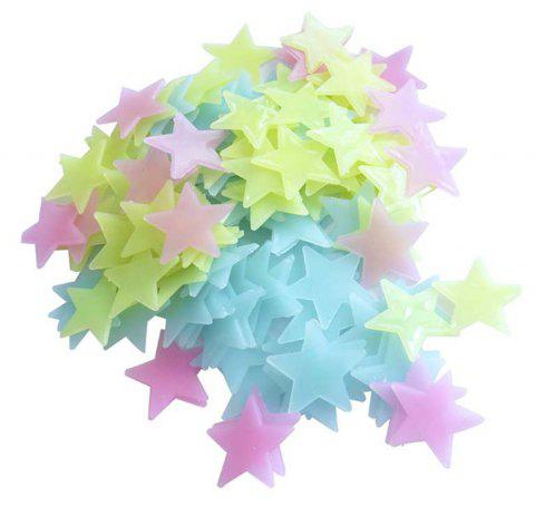 New 3.8CM Fluorescent Star Luminous Stereo Wall Patch 100PCS - multicolor C