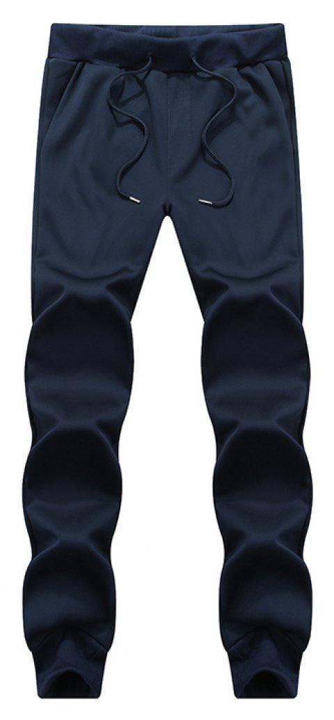 Male Jogging Pants Waist Pulling Rope Pants - BLUE 4XL