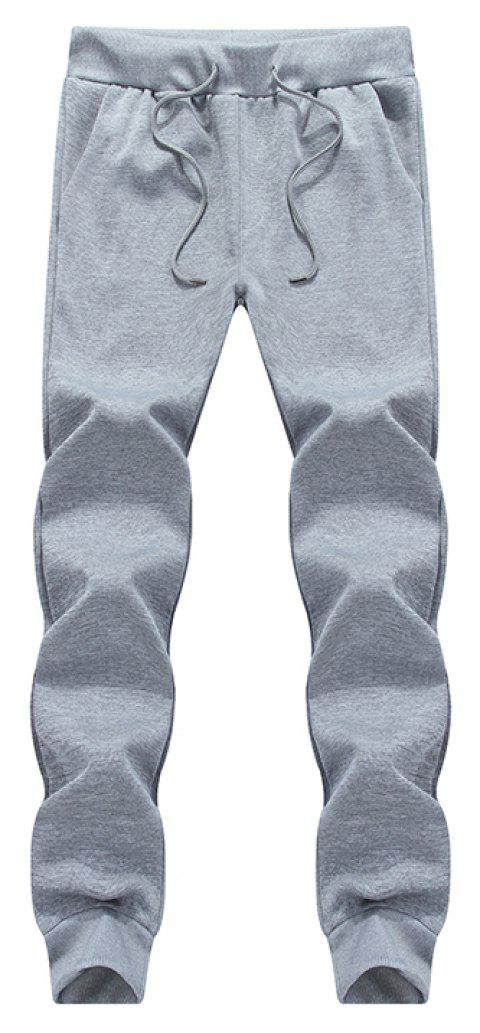 Male Jogging Pants Waist Pulling Rope Pants - GRAY XL