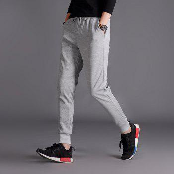 Male Jogging Pants Waist Pulling Rope Pants - GRAY 2XL