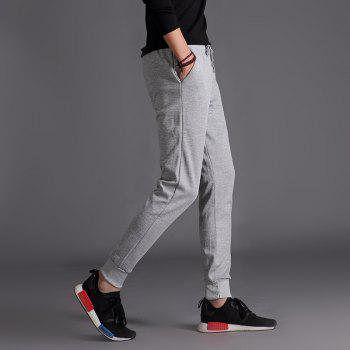 Male Jogging Pants Waist Pulling Rope Pants - GRAY M