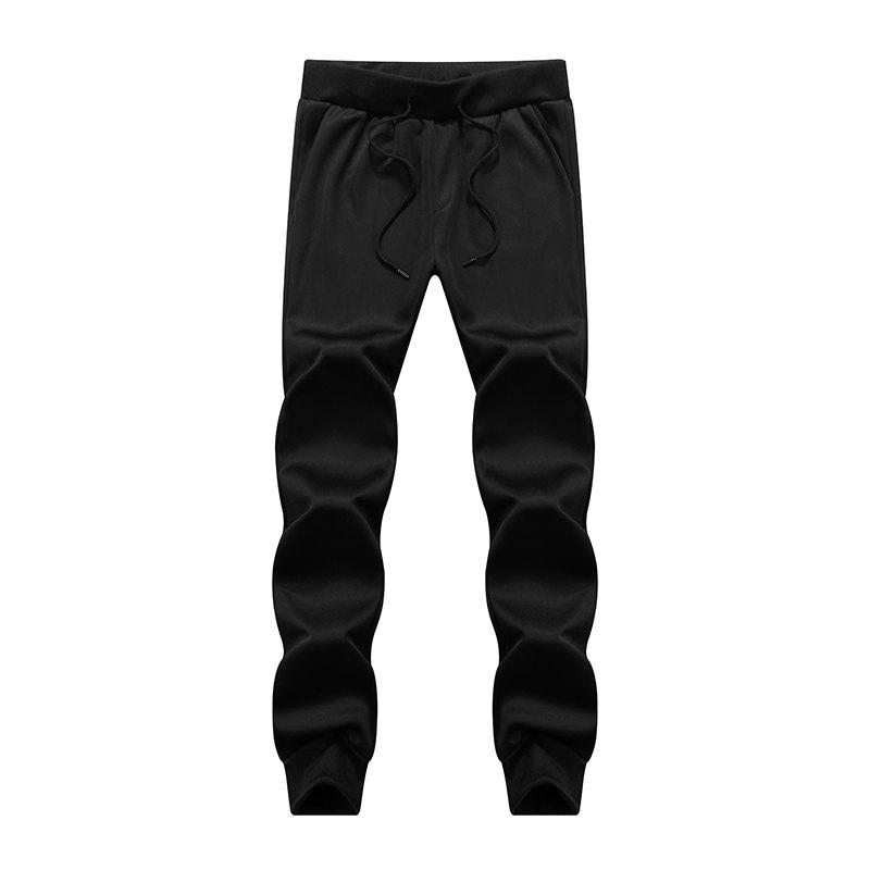 Male Jogging Pants Waist Pulling Rope Pants - BLACK L