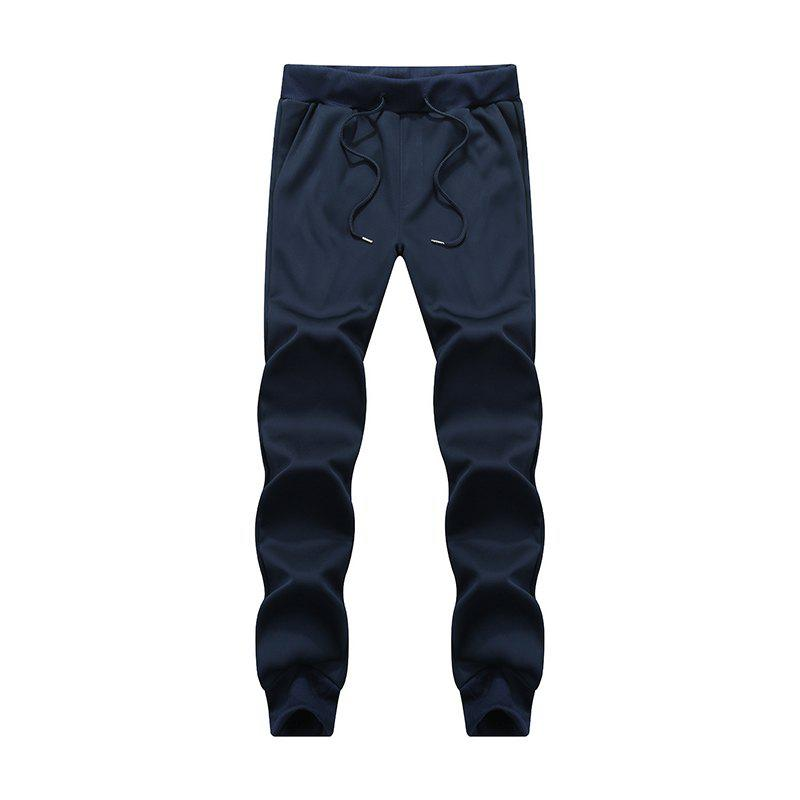 Male Jogging Pants Waist Pulling Rope Pants - BLUE XL