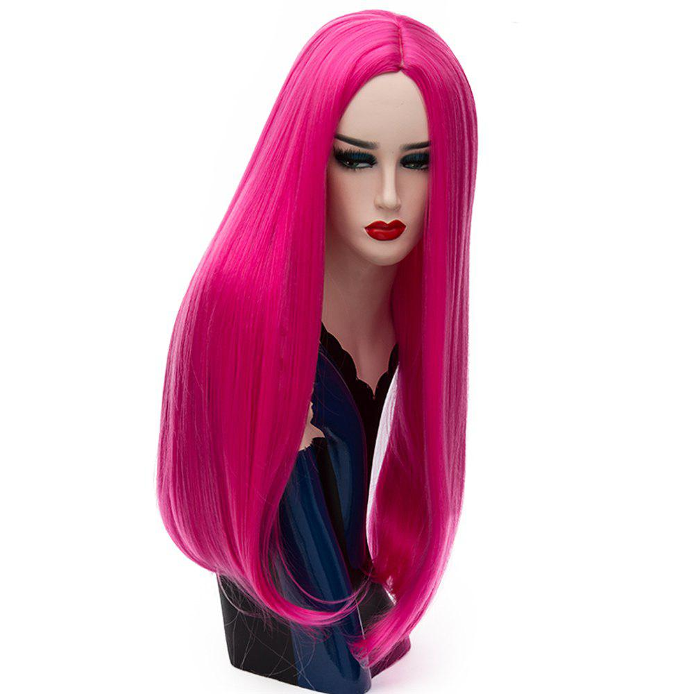 Long Straight Rose Red Wig High Temperature for Women Cosplay Party 26 inch - ROSE RED