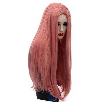 Long Straight Pink Wig High Temperature for Women Cosplay Party Costume 26 inch - LIGHT CORAL