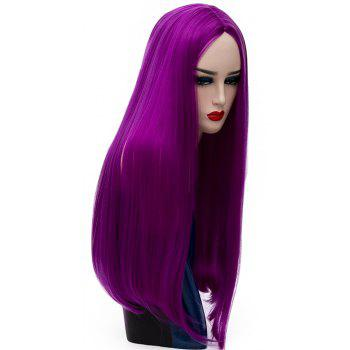 Long Straight Purpl Wig High Temperature for Women Cosplay Party Costume 26 inch - PURPLE FLOWER