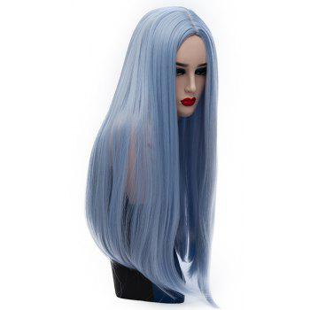 Long Straight Sky Blue Wig High Temperature for Women Cosplay Party 26 inch - DAY SKY BLUE