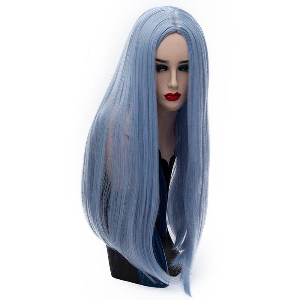 Long Straight Sky Blue Wig High Temperature for Women Cosplay Party 26 inch 4 inch 6 inch straight cup diamond grinding wheel for glass edger straight line double edging beveling machine m009