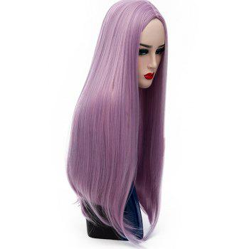 Long Straight Pink Purple Wig High Temperature for Women Cosplay Party 26 inch - PERIWINKLE