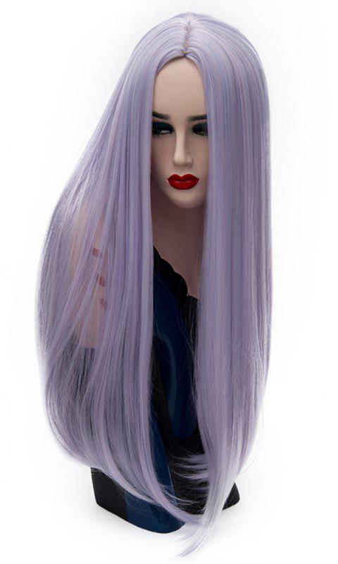 Long Straight Blue Pink Wig High Temperature for Women Cosplay Party 26 inch - LAVENDER BLUE