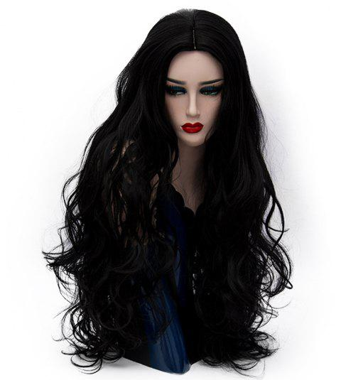 Synthetic Fashion Black Wig Long Curly Hair High Temperature for Women 31 inch - BLACK