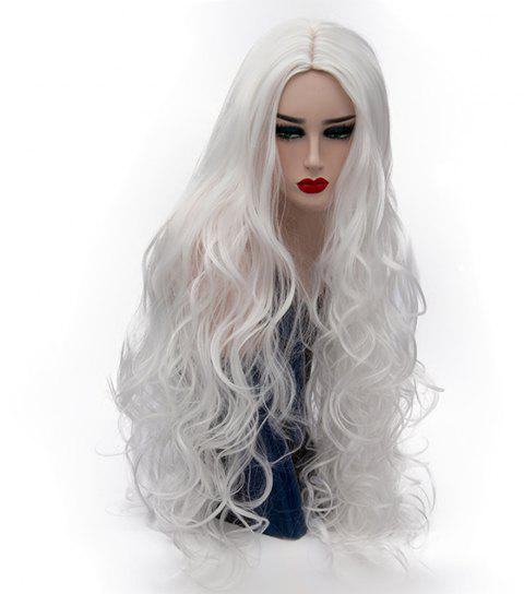 Synthetic Fashion White Wig Long Curly Hair High Temperature for Women 31 inch - MILK WHITE
