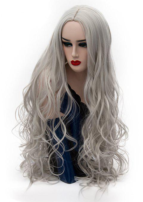 Fashion Silver Grey Wig Long Curly Hair High Temperature for Women 31 inch - PLATINUM