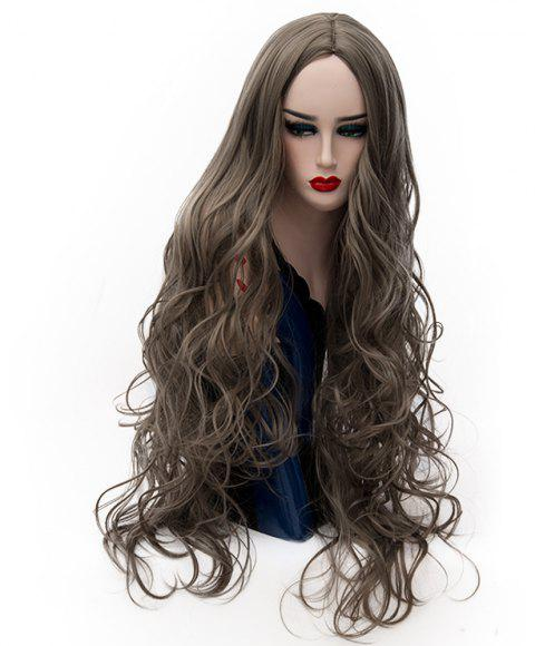 Synthetic Fashion Gray Wig Long Curly Hair High Temperature for Women 31 inch - ARMY BROWN