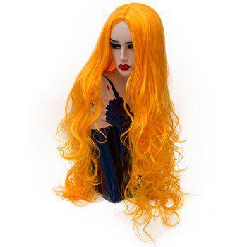 Synthetic Fashion Yellow Wig Long Curly Hair High Temperature for Women 31 inch - CANTALOUPE