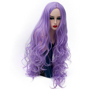 Fashion Light Purple Wig Long Curly Hair High Temperature for Women 31 inch - MAUVE