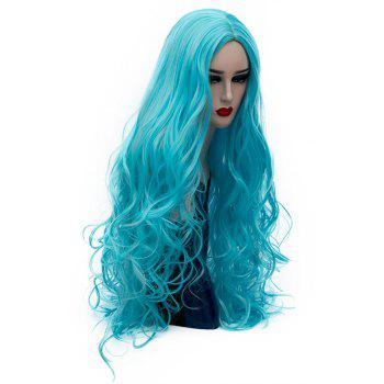 Synthetic Fashion Blue Wig Long Curly Hair High Temperature for Women 31 inch - CELESTE