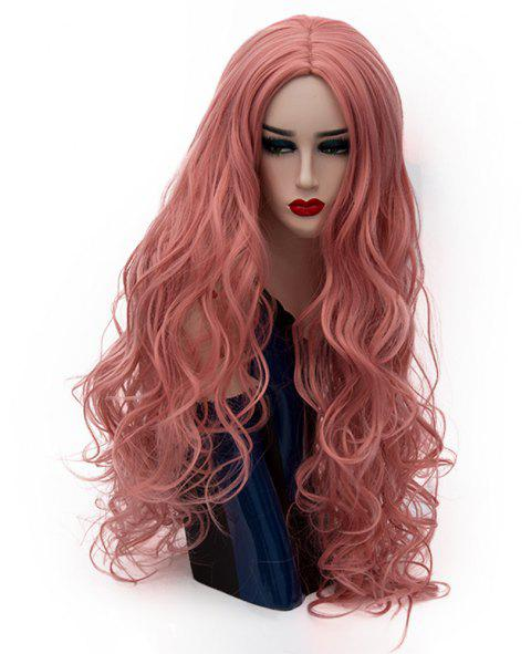 Fashion Smoke Pink Wig Long Curly Hair High Temperature for Women 31 inch - PINK BOW
